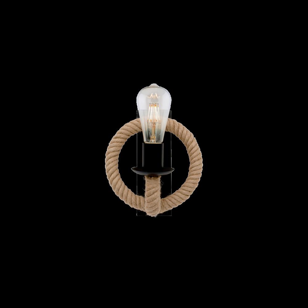955ROPE1W ROPE Fali lámpa 1XE27 BLACK