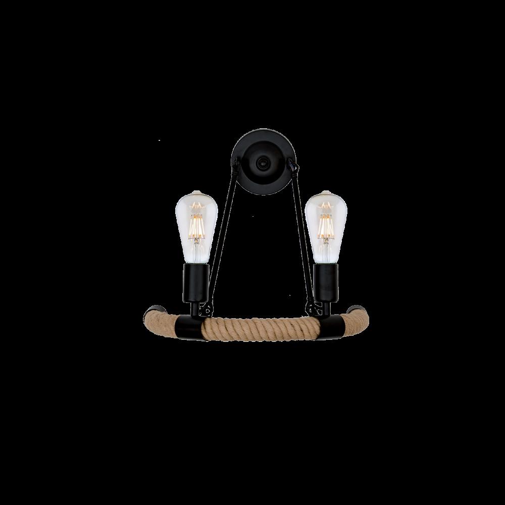 955ROPE2W ROPE Fali lámpa 2XE27 BLACK