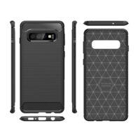 Hátlap Tok, Karbonmintás, Samsung G973 Galaxy S10 Fekete