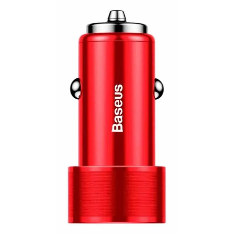 Baseus CAXLD-B09 Car Charger Autós töltő Small Screw Dual USB Quick Charge 36W, Piros