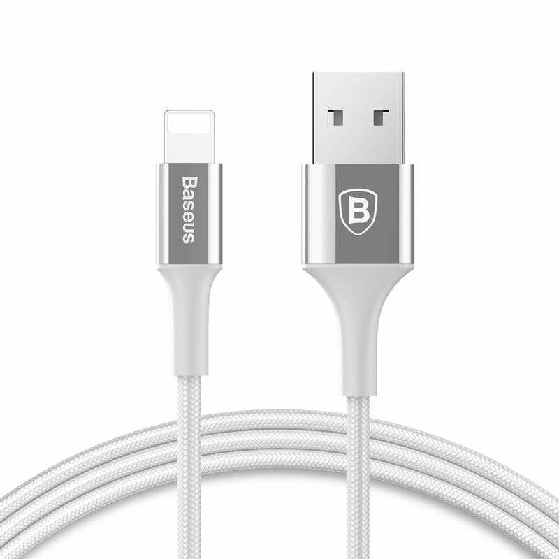Baseus CALSY-0S Lightning Shining Kábel fényes töltő csatlakozóval, Jet metal 2A 1m USB, Ezüst