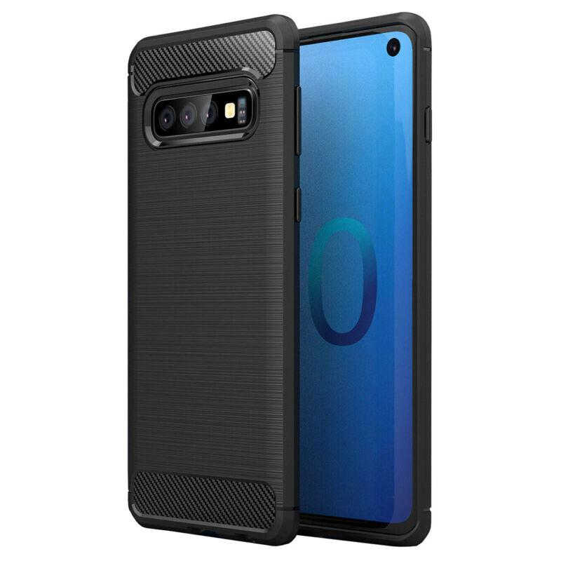 Hátlap Tok, Karbonmintás, Huawei Y7 2019 Fekete